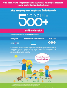 500+ Nowy okres 2019